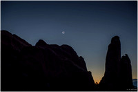 Crescent Moon near Landscape Arch