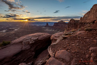 Sunset at Green River Overlook, Canyonlands National Park Utah.