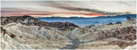 Panorama of the Furnace Creek badlands from Zabriskie Point looking west toward Death Valley and the Panamint Range.